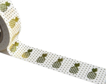 Foil Washi Tape 15mmx10m-Gold Pineapple With Dots