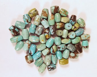 "Turquoise Barrel beads 20"" loose destash"