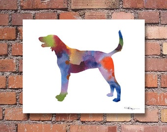 American Foxhound Art Print - Abstract Watercolor Painting - Wall Decor