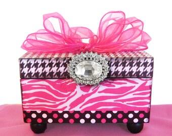 Girls Jewelry Box Wild Zebra Hot Pink, Black & White Trinket Personalized