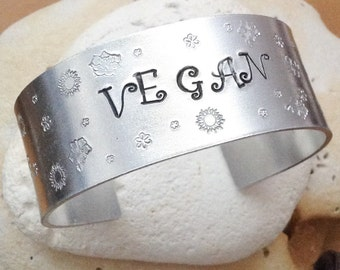 Floral vegan cuff bracelet - vegan bangle - 25mm wide - handstamped flower pattern