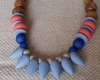 Silicone beaded necklace, statement necklace, wooden beads necklace, light blue teardrop necklace