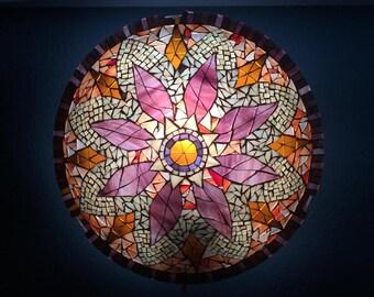 Mandala wall lamp, mosaic lamp, stained glass sconce