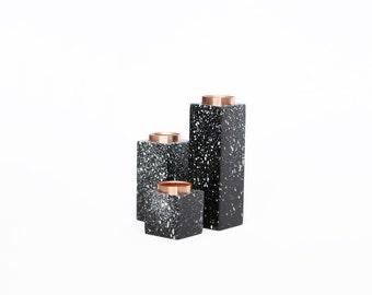 Geometric candle holder set of 3 - black speckled candle stick holders - copper candleholder - black copper - scandinavian decor -
