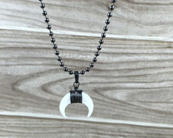 Petite Crescent Moon Shell Necklace, Double Horn Charm Pendant Necklace, Tiger Eyes/Black/White/Blue Horn with Gunmetal ball chain Necklace