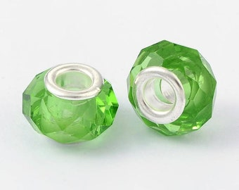 2 European glass beads faceted green clear brass 14 x 10 mm beads with large hole 5 mm, for Bracelets European snake, leather, stiff