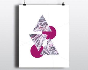 Art Print 8x10 Grey Fuschia Marble Geometric II