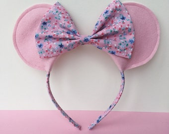 Mouse Ears headband- Pink Mouse ears - Floral Mouse ears - Baby headband - Mouse ears with Bow