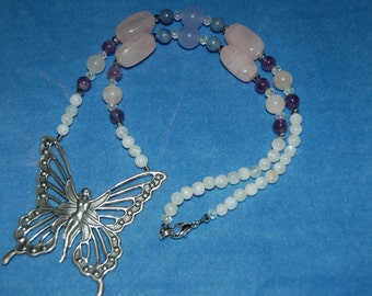 Faery Queen Necklace - faerie - fairy - butterfly - rainbow moonstone, amethyst, rose quartz, blue aventurine, quartzite