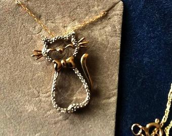 Gold Embellished Cat Necklace