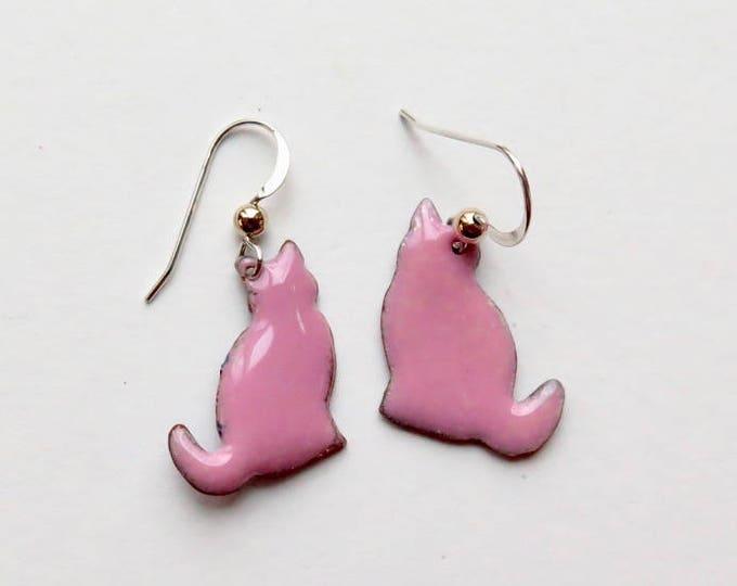 Enamel Earrings - Cat Earrings - Enamel Jewelry - Cats - Cat Jewelry - Handmade - Copper Jewelry - Pink - Sterling Silver - Free Ship