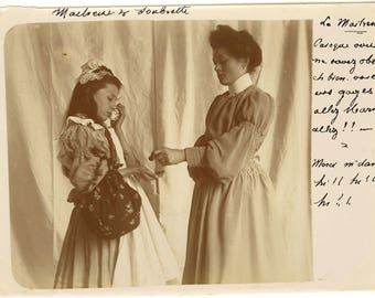 Photo antique vintage - lover and Maid - 1900