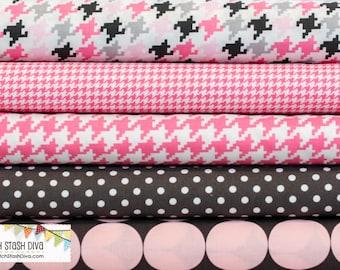 Pink & Grey Michael Miller Basics Bundle (5 Fabrics Total)