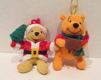 Set Of 2 Winnie The Pooh Plush Ornaments By Disney
