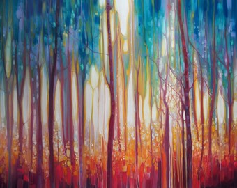 LARGE ORIGINAL Oil Painting - Mythology - a unicorn in her woodland realm