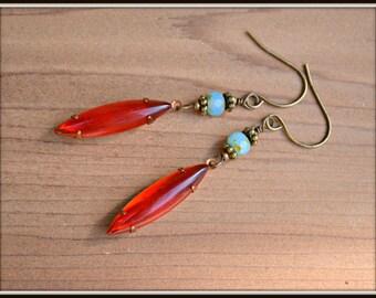 Cadeau fait à la main en boucles d'oreilles perle verre vintage boucles d'oreilles rubis du Siam