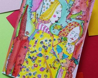 Art Prints, FREE S&H, Am I Spleepwalking?, Green, Red, Yellow, The Odd Sisters, Art Print, Watercolors, Pen And Ink, Whimsical Art, Giclee
