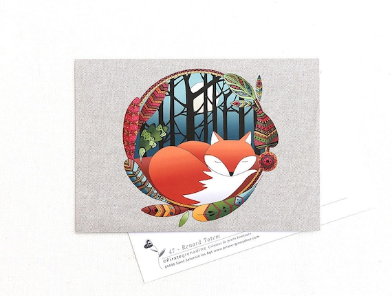 """Postcard """"Fox totem"""" illustrated map by Pirate squash"""