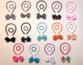 "14 Headband, Bows, Bracelet Set for American Girl or 18"" Doll, Great Party Favor!"