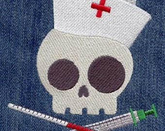 Nurse Skully Embroidered Flour Sack Hand/Dish Towel