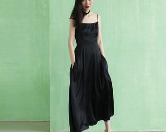 Classic black 100% Silk Dress   ALASHANGHAI