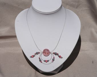 Bridal necklace or pink and gray ceremony