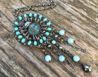 Long Boho Chic Necklace - Bohemian Blue Green Gemstone Necklace with Aqua Fluorite, Amazonite and Pyrite
