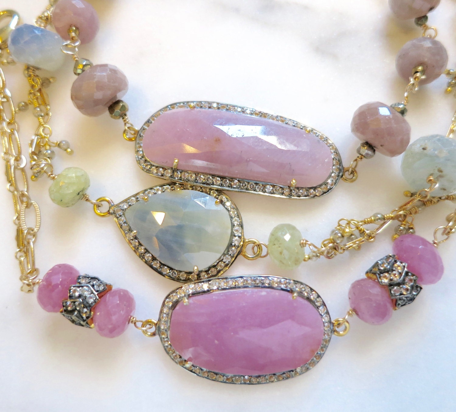 plated silver opal ct in created gold pink and sapphire itm bracelet sterling