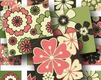 Modern Flowers in 1-inch squares for pendants and more -- piddix digital collage sheet no. 594