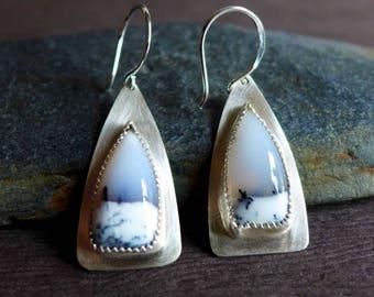 Dendritic Agate Earrings, Dendritic Opal Sterling Earrings, Snowbowl Agate Earrings, Wintry Landscape Gemstone Earrings, Winter Jewelry