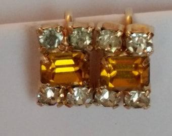 Ann Vien Topaz & Clear Rhinestone Earrings