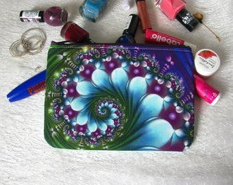 Zippered pouch with caleidoscope, makeup bag, phone case, purse