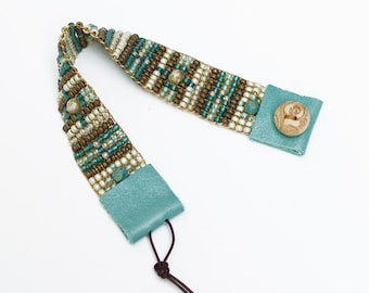 ON SALE! Bead Woven Bracelet in Turquoise and Sand