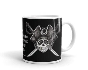 Skull Pirate Captain/ A Smooth Sea Quote / Coffee Mug