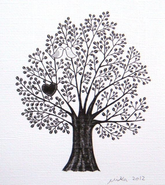 Tree of love art tree of life print black white wall art