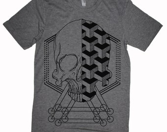 Men's Geometric Skull T-shirt Sacred Geometry Dotwork Linework Geometric Pattern Blue