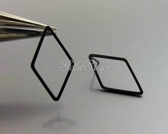 4 pcs large diamond shaped earrings in matte black, open diamond earrings 1067-BL-24
