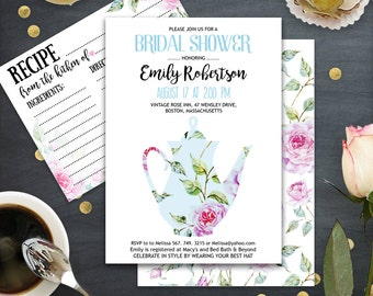 Bridal Tea Party Invitation Printable, Bridal Shower Invitation, Garden theme Bridal Brunch Invite Blue & Watercolor floral INSTANT DOWNLOAD