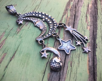 Vintage Sterling Silver Moon Pendant Celestial Jewelry, Moon Jewelry, Steampunk Jewelry, Tarot Lover Gift, Astrologer Gift, Goddess Jewelry