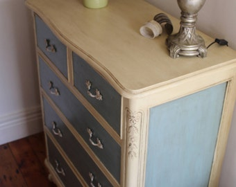 French Provincial hand painted large solid dresser