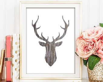 Deer Silhouette - Wood Grain - Rustic Printable Art - INSTANT DOWNLOAD -  5x7,  8x10, and 11x14