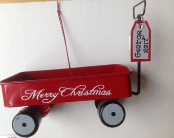 Red Toy Cart, Red Sled, Red Toy Wagon -Personalized Christmas Ornament Gift