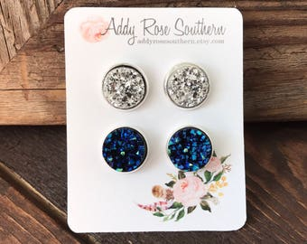 12mm druzy earrings, druzy earrings, druzy jewelry, druzy studs, blue druzy earrings