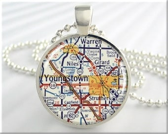 Youngstown Map Pendant, Youngstown Ohio Map Necklace, Resin Picture Jewelry, Round Silver, Gift Under 20, Map Charm 646RS
