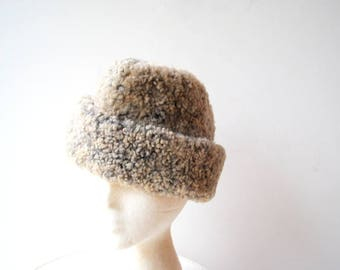 Cold war era, vintage 60s, gray, curly lam, winter men's hat. Size small.