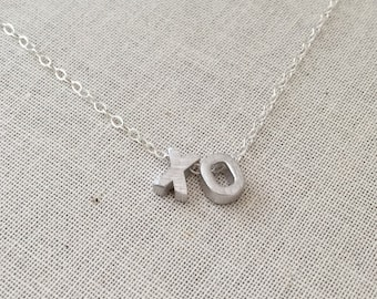 XO Sterling Silver Necklace, Hugs and Kisses Necklace, XO Pendant/Charm,Sterling Silver Chain, XO Initials, Birthday Gift, Graduation Gift