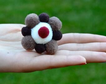 Chocolate Brown, Light Brown, White & Maroon Felted Pom Pom/Adjustable Ring /Cupcake Pom Pom Ring