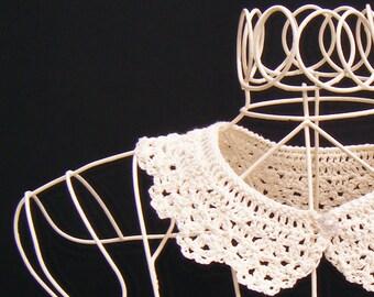 Lace Collar Cream Crochet Peter Pan Detachable Women's Accessory