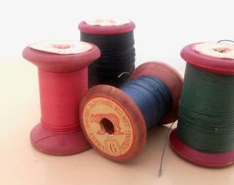 4 Thread Spools, Wooden Thread Spools, JP Coats, Bear, Sewing Thread, Craft Spools