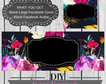 DIY Facebook Set, Black Floral Set, Tropical Flowers, Facebook Cover, Elegant Timeline, Chic Graphics, Instant Download, Facebook Page
